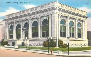 Hazelton Pennsylvania~One Way Past the Public Library~1940s Postcard