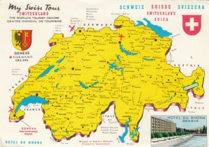 SWITZERLAND, 1950-70s; Map, My Swiss Yours, Coat of Arms, Flag, Hotel