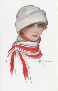 ART DECO ; BUSI ; Woman in Hat & Scarf, 1910-30s