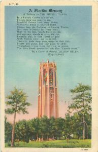 Florida, Tribute to the Singing Tower by Lillian Allen 1938 Postcard