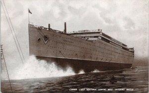 'Aquitania' Cunard Liner Ship Leaving Ways Unused Postcard F75