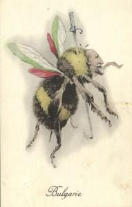 WWI Caricature Bulgaria Czar Ferdinand I as Bee Killed with Sabre (1910s)