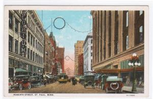 Roberts Street Cars St Paul Minnesota 1928 postcard