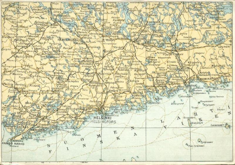 finland suomi MAP Postcard Helsinki Hamina Tammisaari Lahti