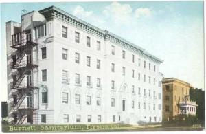 Burnett Sanitarium in Fresno, California, CA, Divided Back