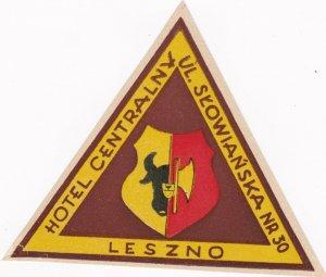 Poland Leszno Hotel Centralny Vintage Luggage Label lbl1626