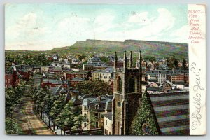Meriden Connecticut~Birdseye View @ Town Hall Tower~Church Foreground~1907