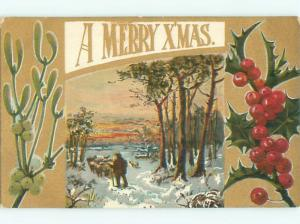 Divided-Back CHRISTMAS SCENE Great Postcard W8701