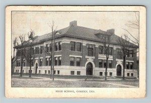 Goshen IN-Indiana, High School Building, Vintage Postcard