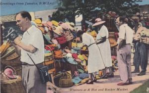 Visitors at a hat and basket market, Jamaica, B.W.I., 00-10s