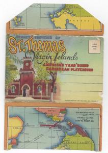 St Thomas Virgin Islands Souvenir Folder 1951 Postcard