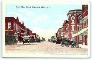 Postcard OK Blackwell c1920s View North Main Street Drug Store Old Cars R40