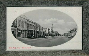 c1910 Red Bluff Tehema California Main Street View Glosso Oval Postcard