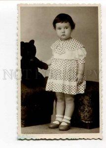 3028057 Cute Girl & Big TEDDY BEAR. Old Real Photo
