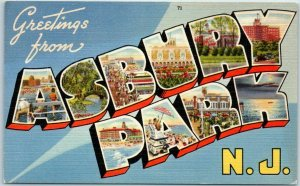 Vintage ASBURY PARK N.J. Large Letter Postcard - Colorful Tichnor Linen c1940s