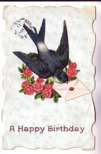 Dye-Cut, Applique Paper Bird with Envelope, Birthday