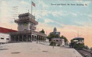 Pennsylvania Reading Tower &  Hotel Mt Penn Trolley 1916