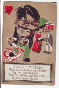 P1435 1910 used postcard a jealous woman, man and woman all love kicks the can