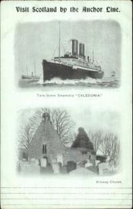 Anchor Line Steamship Caledonia - Alloway Scotland c1900 Postcard