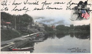 Wesley Lake, Ocean Grove, New Jersey, Early Hand Colored Postcard, Used in 1906