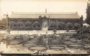 LP08 St. Louis Missouri Postcard RPPC Tower Grove Park Lilly Pads