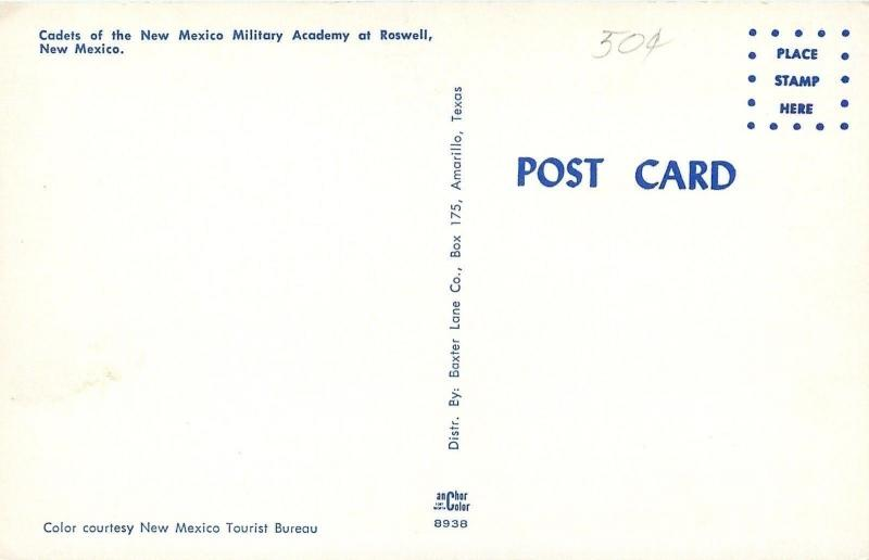 Roswell NM~The New Mexico Military Academy~Cadets~Dress Parade~1960s Postcard