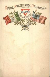 Italy & United States Fraternal - American Flags Americana YMCA Postcard