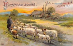 Homeward Bound Calligraphy~Shepherd & Sheep Dog Welcome Peaceful Evening~EAS~GEL