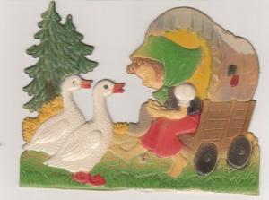 Victorian Scrap , Girl & 2 Geese , 1890s