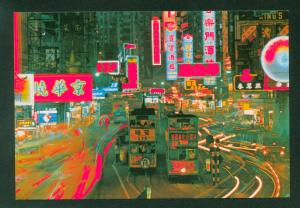 Hennessy Road Night Street View Hong Kong City Double Decker Bus China Postcard