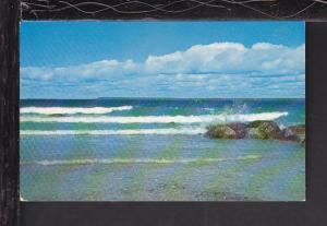 Rocks and Surf,MI Postcard BIN
