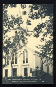 Brewster, Massachusetts/Mass/MA Postcard, First Parish Unitarian Church,Cape Cod