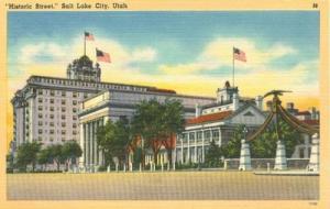 Historic Street, Salt Lake City, Utah unused linen Postcard