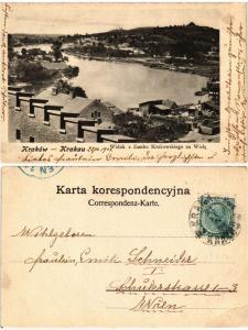 CPA AK KRAKOW Widok z Zamku Krakowskiego na Wisle POLAND (288624)