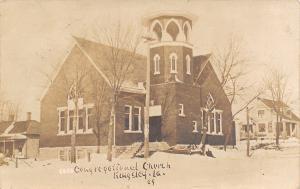 Kingsley Iowa~Congregational Church~Houses Each Side~Snow~1910 Real Photo~RPPC