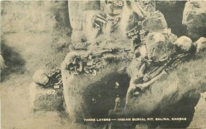 Artvue Indian Burial Pit Salinas Kansas Skeletons Macabre 1930s Postcard 7717