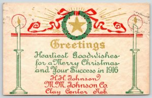 Clay Center NE~HH & MM Johnson Embossed Christmas Wishes~Star in Wreath~1915 PC