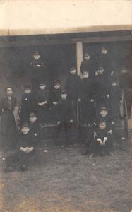 Real Photo Postcard~16 Boys in Army Uniforms~Stand on Cannon~Lady~c1918 RPPC