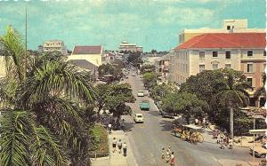 Nassau Bahamas Busy Bay Street Horse Wagon Old Cars Postcard