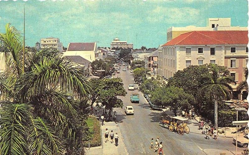 Nassau Bahamas Busy Bay Street Horse Wagon Old Cars Postcard