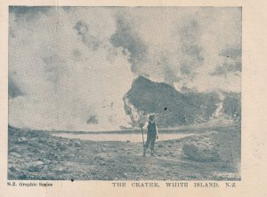 White Island Volcano Crater New Zealand Antique Postcard