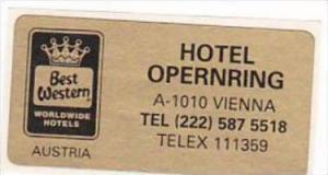 AUSTRIA VIENNA HOTEL OPERNRING VINTAGE LAUGGAGE LABEL