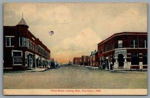 Postcard Claremore OK c1910s Third Street Looking East J.T. Wilson & Sons Store
