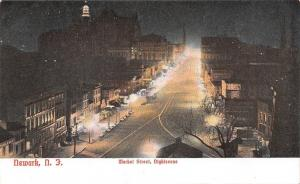 Newark New Jersey~Market Street Night Lights~JW Greene & Co~1910 Postcard