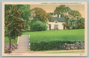 Winchester Virginia~Stonewall Jackson's Headquarters~Civil War~Plaque~1940s