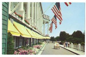 Grand Hotel Mackinac Island Michigan Front Drive Flags 1960