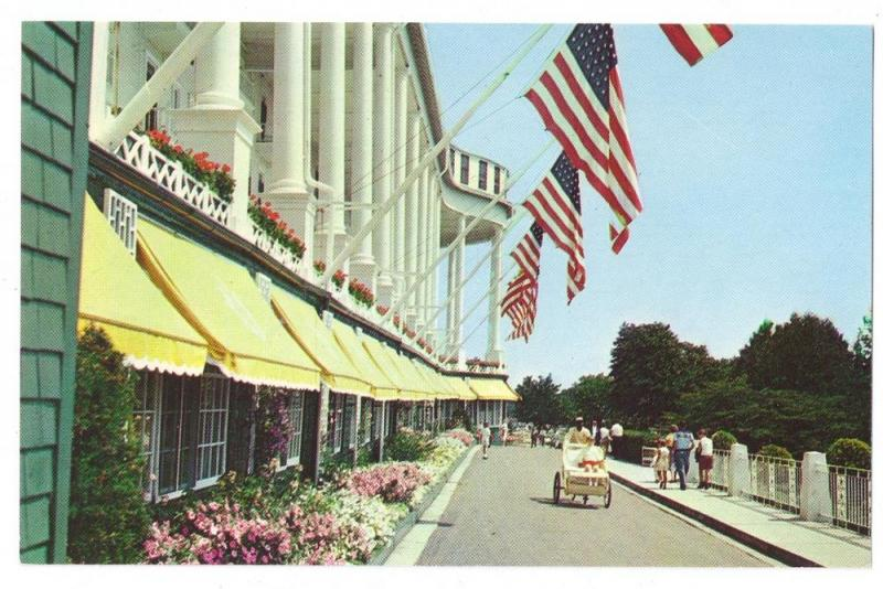 Grand Hotel Mackinac Island Michigan Tandem Carriage Flags 1960 Postcard