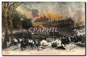 Old Postcard Saint Cloud The castle fire by the Prussians October 13, 1870