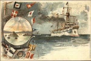 German Battleship SM Kreuzer Kaiserin Augusta CHINA Kiautschou Bay Postcard