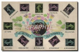Fancy Old Postcard stamps Language Type 10c Sower